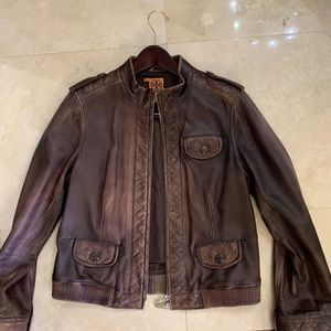 Tory Burch brown bomber jacket size 14